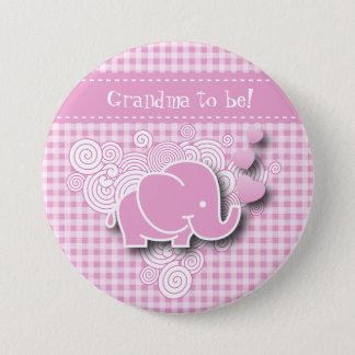 Bóton Redondo 7.62cm Texto cor-de-rosa & branco do elefante | DIY do