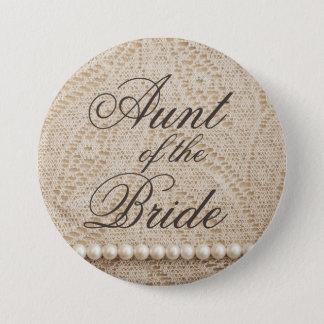Bóton Redondo 7.62cm Tia da noiva com laço e pérolas - botão