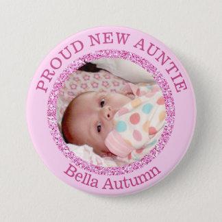 Bóton Redondo 7.62cm Tia orgulhosa cor-de-rosa Botão do bebé