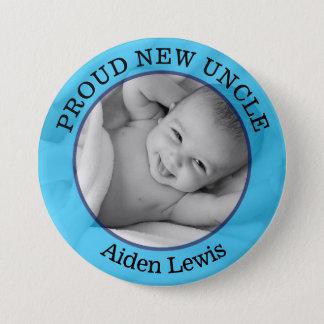 Bóton Redondo 7.62cm Tio novo orgulhoso azul Botão do bebé