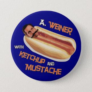 Bóton Redondo 7.62cm Um Weiner com ketchup & bigode