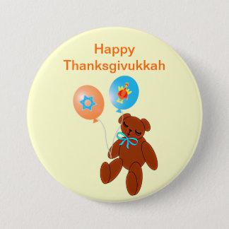 Bóton Redondo 7.62cm Urso de ursinho de Thanksgivukkah com botão dos