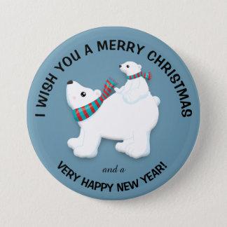 Bóton Redondo 7.62cm Urso polar e Cub da mãe no Feliz Natal azul