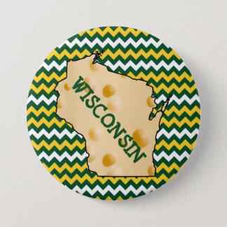 Bóton Redondo 7.62cm Verde e ouro do botão de Wisconsin Cheesehead
