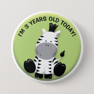 Bóton Redondo 7.62cm Zebra bonito no botão verde do aniversário
