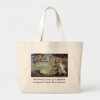 Botticelli, nascimento de Venus, para juncos dobro Bolsa Tote Grande