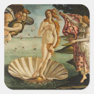 Botticelli o nascimento de etiquetas de Venus Adesivo Quadrado