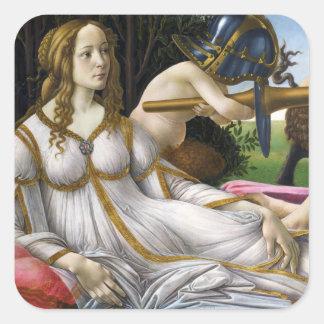 Botticelli Venus e etiquetas de Marte Adesivo Quadrado