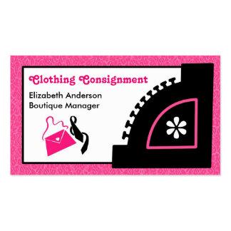 Boutique cor-de-rosa feminino da remessa da roupa cartoes de visitas