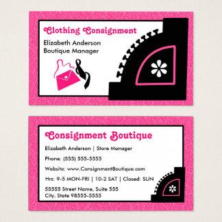 Boutique cor-de-rosa feminino da remessa da roupa cartão de visitas