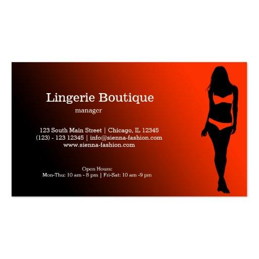 Boutique da lingerie modelos cartao de visita