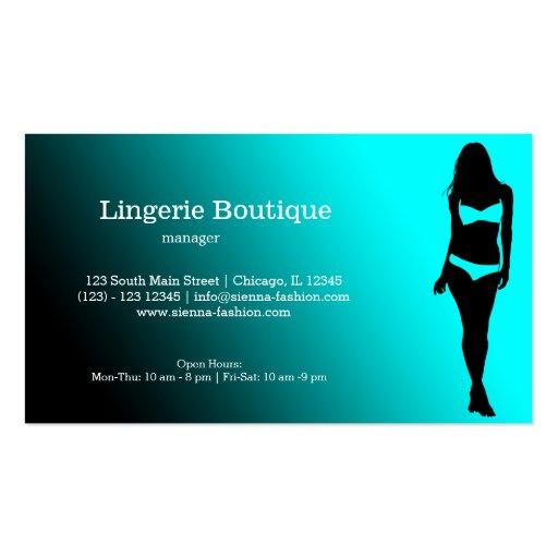 Boutique da lingerie cartões de visita