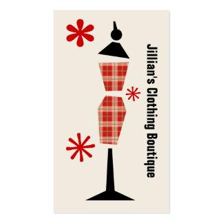 Boutique da loja de roupa - manequim vermelho da x cartão de visita
