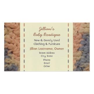 Boutique do bebê - cobertura do bebê do Crochet Cartão De Visita