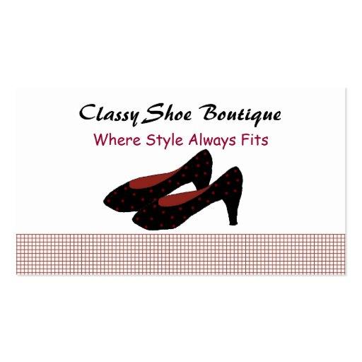 Boutique elegante dos calçados cartao de visita