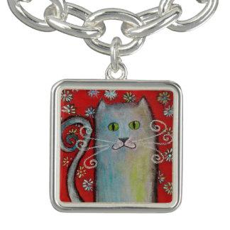 Bracelete Amante-Lunático do encanto do gatinho do