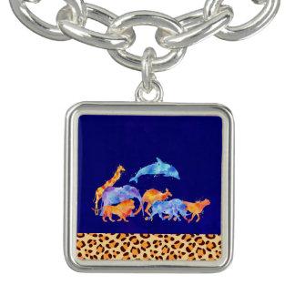 Bracelete Animais selvagens com uma beira do impressão do