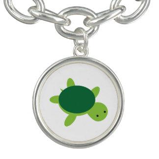 Bracelete bonito do encanto do botão da tartaruga