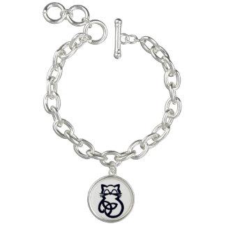 Bracelete celta do gato do nó preto da trindade