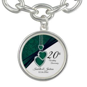 Bracelete Com Pingente 20o Lembrança esmeralda do aniversário de