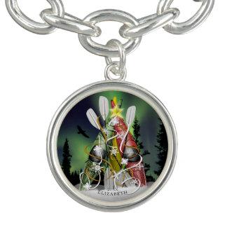 Bracelete Com Pingente Aurora Borealis da árvore de Natal do caiaque que