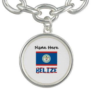 Bracelete Com Pingente Bandeira e Belize belizences com nome