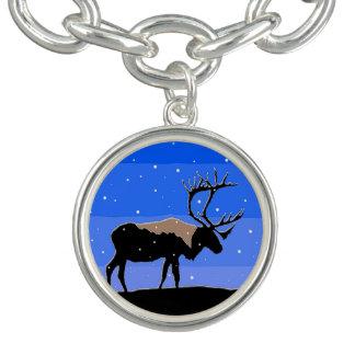 Bracelete Com Pingente Caribu no inverno - arte original dos animais