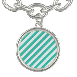 Bracelete Com Pingente Cerceta e teste padrão diagonal branco das listras