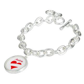 Bracelete Com Pingente Coração austríaco
