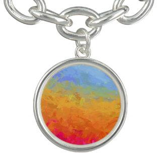 Bracelete Com Pingente Design colorido do arco-íris da aguarela do verão