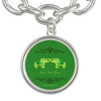 Bracelete Com Pingente Elefante do Henna (verde/verde limão)
