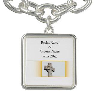Bracelete Com Pingente Escocês-Casamento-Céltico-Cruz