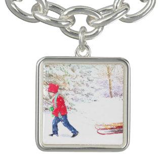 Bracelete Com Pingente Feriados do Natal do menino do trenó do inverno da