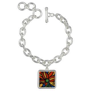Bracelete Com Pingente Flor abstrata