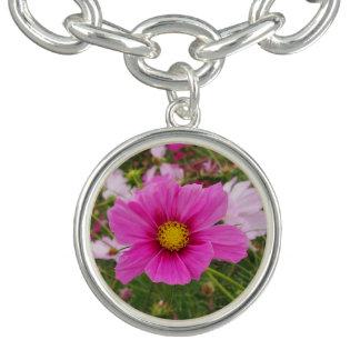 Bracelete Com Pingente Flor cor-de-rosa bonito do cosmos