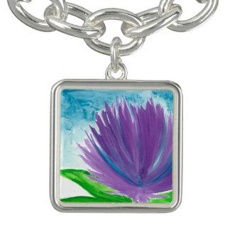 Bracelete Com Pingente Flor roxa 1