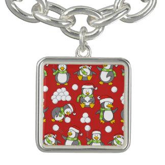 Bracelete Com Pingente Fundo dos pinguins do Natal