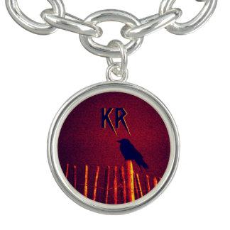 Bracelete Com Pingente Gótico Quoth o corvo sob o céu da meia-noite,
