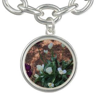 Bracelete Com Pingente Jardim das flores brancas da tulipa da neve