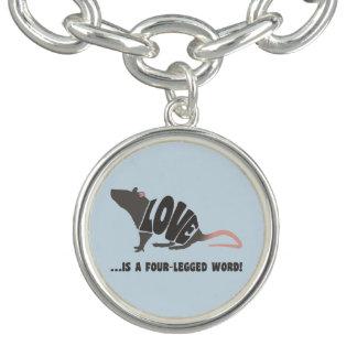 Bracelete Com Pingente O amor é uma palavra de quatro patas! - rato