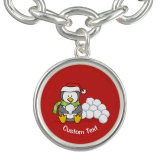 Bracelete Com Pingente Pinguim do Natal que senta-se com bolas da neve