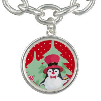 Bracelete Com Pingente Pinguim festivo com trenó - vermelho
