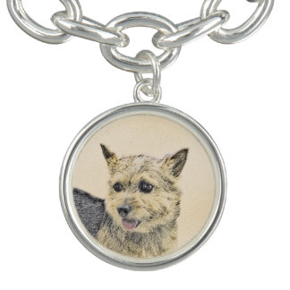 Bracelete Com Pingente Pintura de Norwich Terrier - arte original bonito