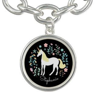 Bracelete Com Pingente Preto do unicórnio & das flores personalizado