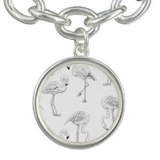 Bracelete Com Pingente Teste padrão do flamingo