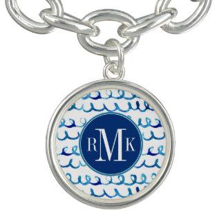 Bracelete Com Pingente Teste padrão ondulado da aguarela azul pintado mão