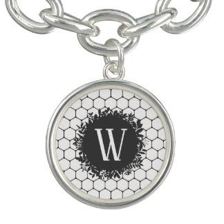 Bracelete Com Pingente Teste padrão preto e branco da colmeia com