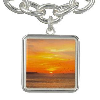Bracelete Costa do por do sol com Sun alaranjado e pássaros