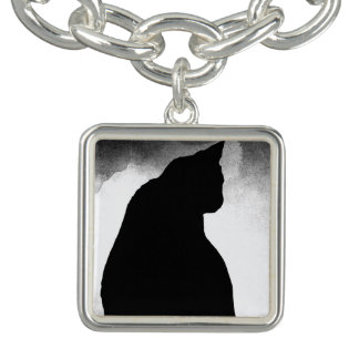 Bracelete do encanto da silhueta do gato preto