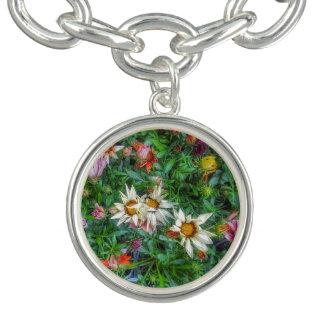 bracelete do encanto do impressão do wildflower da
